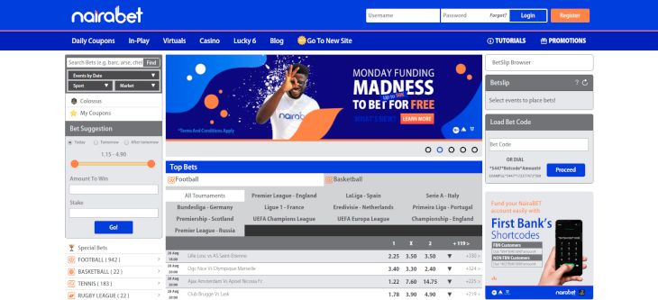 NairaBet home page