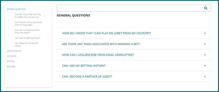 22Bet FAQ