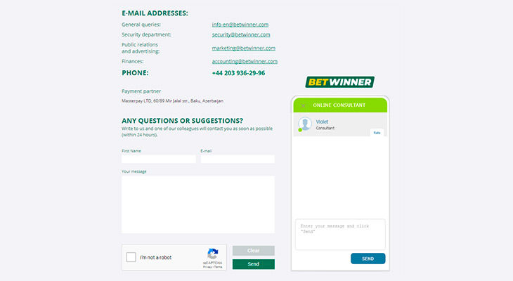 BetWinner contacts